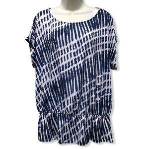 Michael Kors short sleeve peplum blouse/top Sz XL